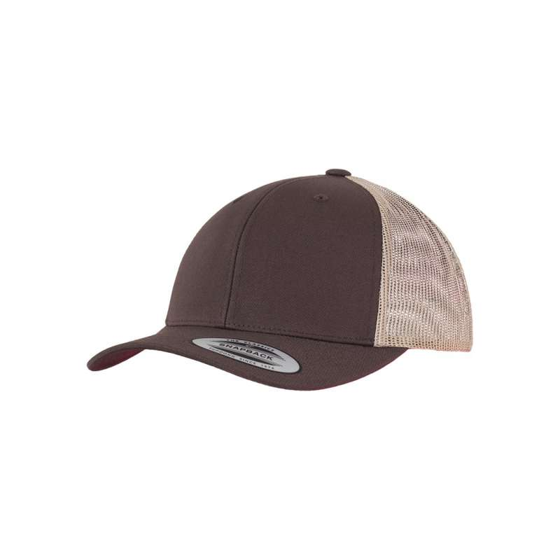 Brun/khaki retro truckerkeps 6-panel
