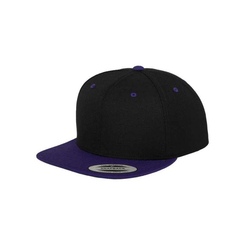 Snapback-keps, svart/lila tvåfärgad Yupoong