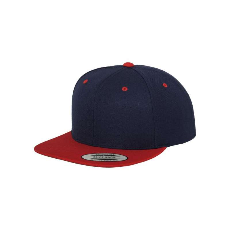 Snapback-keps, marinblå/röd tvåfärgad Yupoong