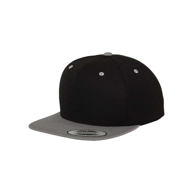 Snapback-keps, svart/ljusgrå tvåfärgad Yupoong