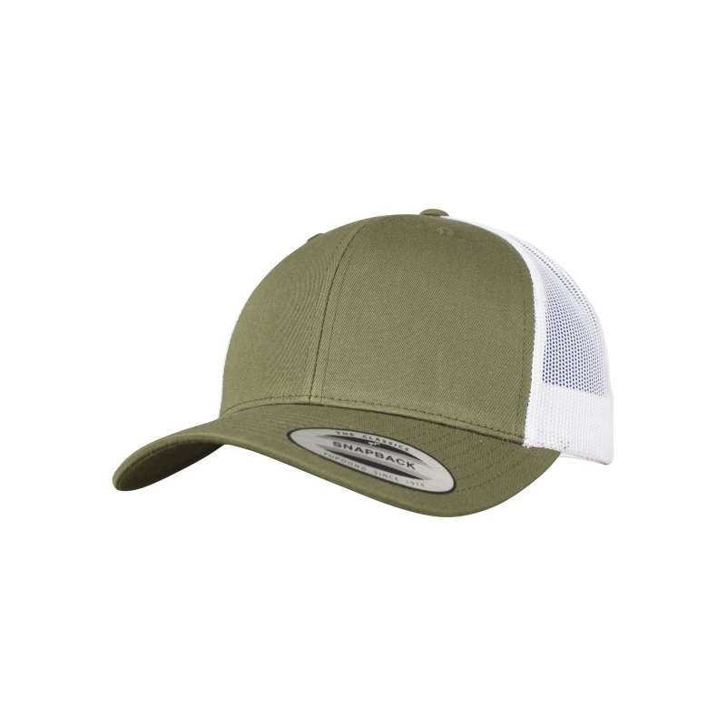 Olive/vit retro truckerkeps 6-panel