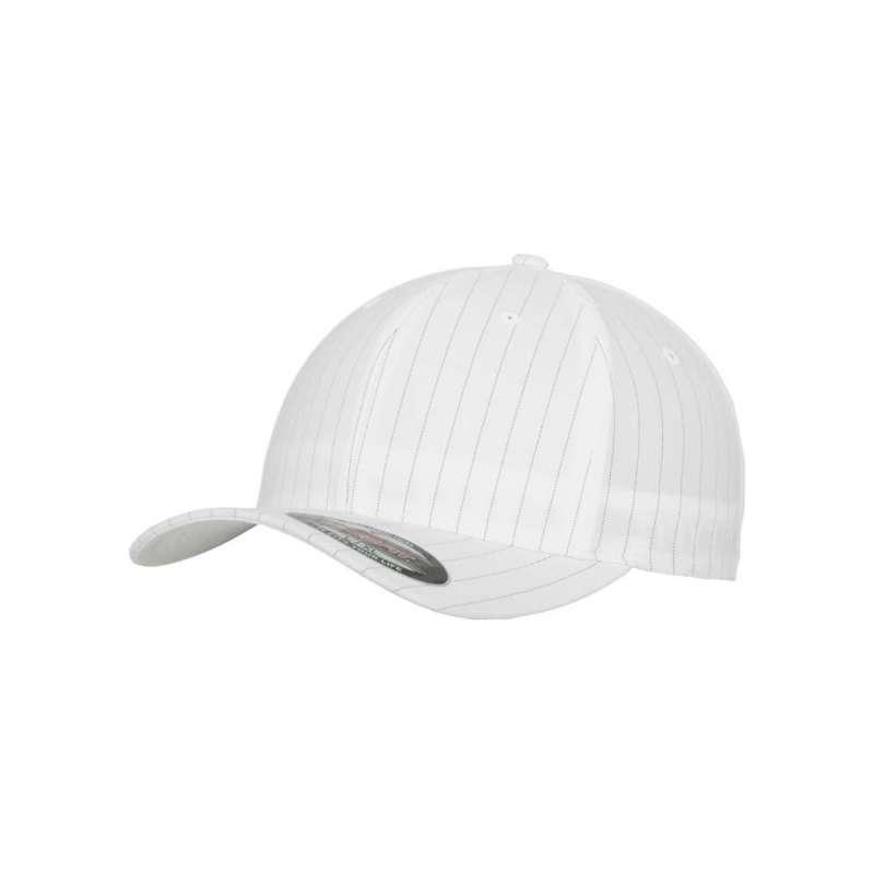 Flexfitkeps, vit/svart 6195 Pinstripe med böjd skärm